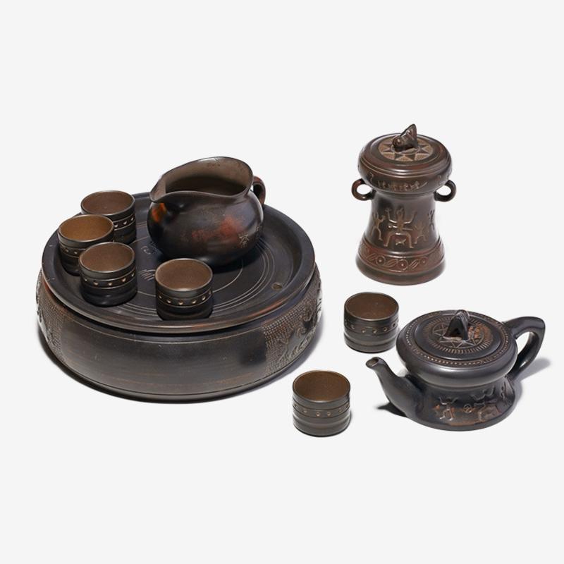 钦州坭兴陶茶具,坭兴陶小壮魂10件套价格,南宁专卖店