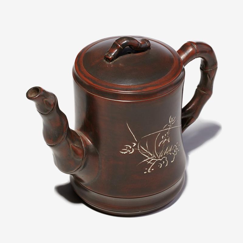坭兴陶,钦州坭兴陶茶壶,坭兴陶老竹飘香壶价格