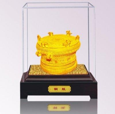 广西铜鼓礼品,8CM绒沙金广西铜鼓批发定制-绒沙金铜鼓摆件