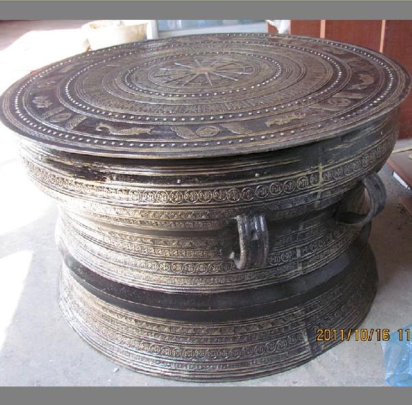 广西铜鼓,58CM黄铜 广西铜鼓批发