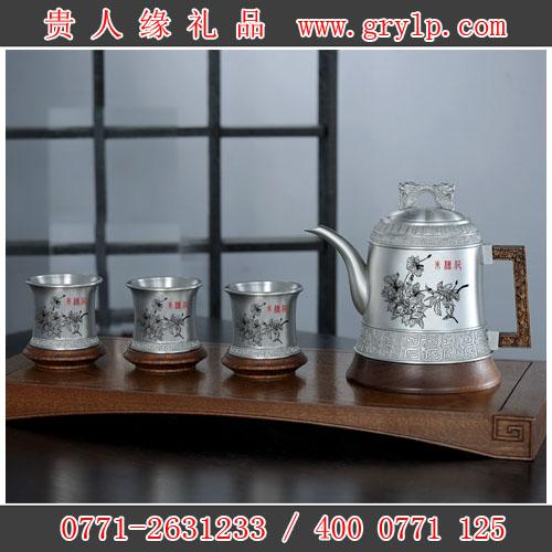 纯锡茶具,广西南宁纯锡朱槿花图案茶具套装,南宁市市花