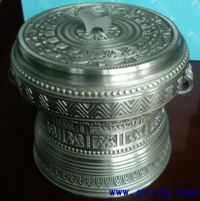 锡制茶叶罐,铜鼓形茶叶罐,广西铜鼓茶叶罐