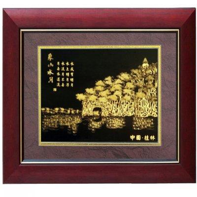 金箔画,象山水月金箔画,广西南