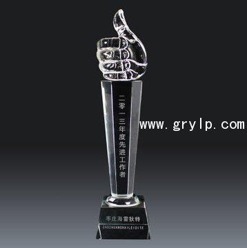 拇指水晶奖杯免费刻字,最近创意模型奖杯,南宁水晶奖杯奖牌制作