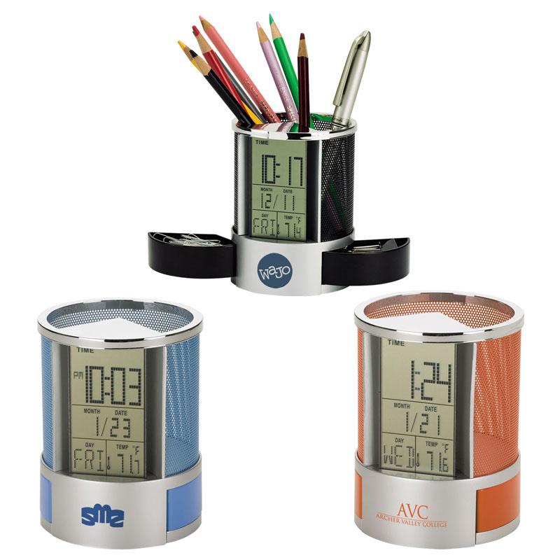 笔筒,多功能金属网电子笔筒礼品,万年历笔筒礼品定制