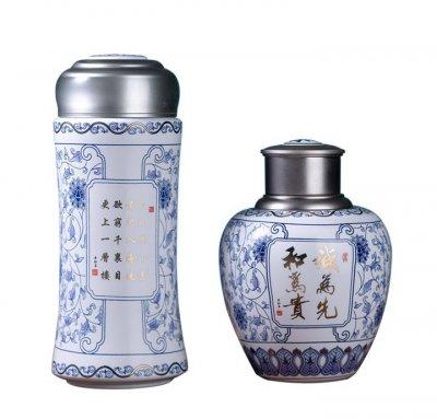 更上一层楼(两件套),陶瓷茶叶罐+双层陶瓷水杯