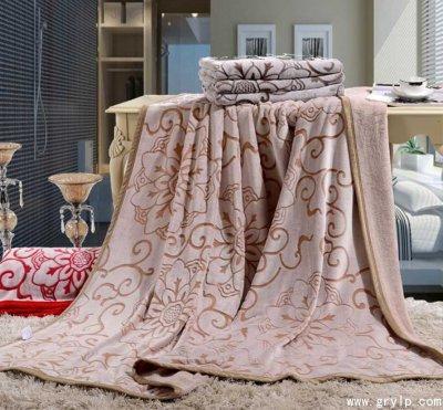 路易卡罗蚕丝雕花毯,毛毯礼盒装