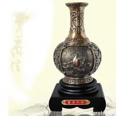 碳雕工艺品-富贵平安炭雕花瓶,
