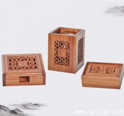 非洲酸枝木和文化精雕三件套办公摆件 广西南宁红木工艺品