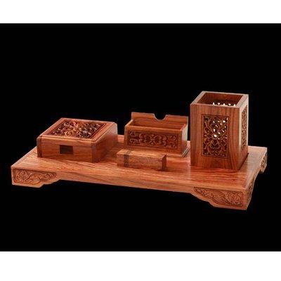 红木办公摆件工艺品 檀香斋非洲酸枝木镂空五件套图片价格