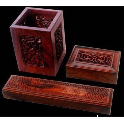 大红酸枝木镂空新三件套.笔筒+名片盒+镇纸3件套红木工艺品
